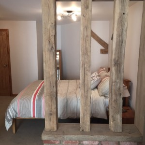 King Sized Bed With Original Wooden Beam Feature